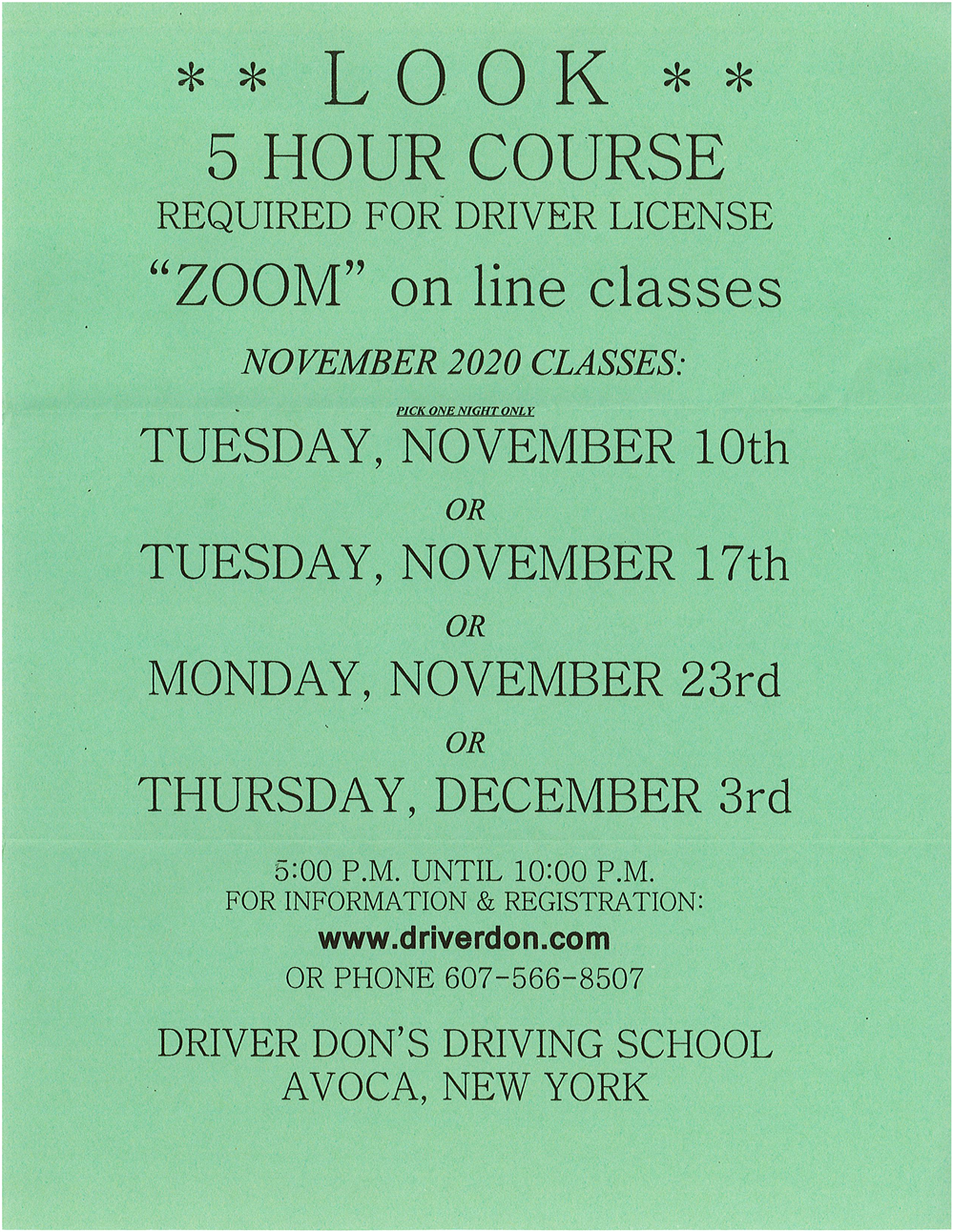 Five Hour Driving Course