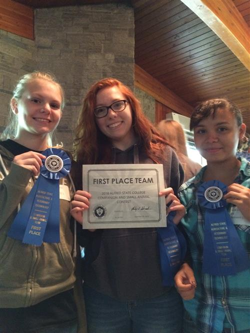 1st place animal science team